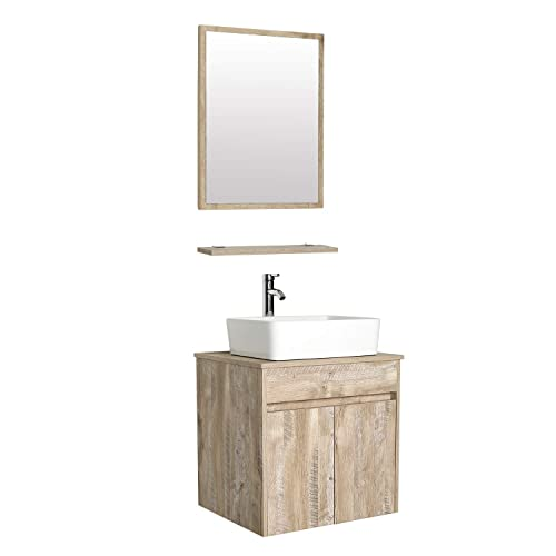 Eclife 24 Bathroom Vanity Sink Combo Wall Mounted Natural Cabinet