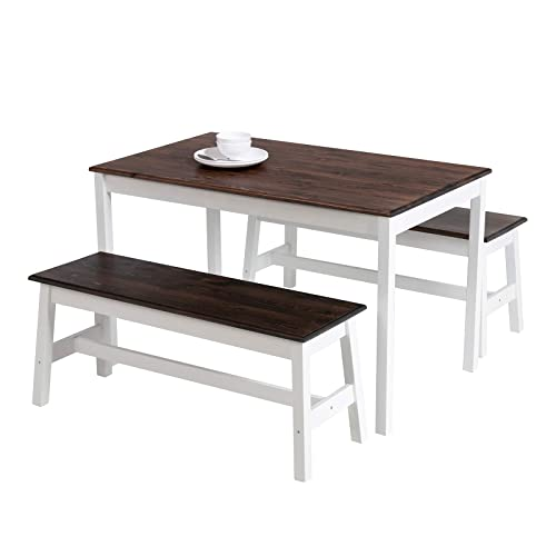 Buy Mecor 3 Piece Dining Set Table With 2 Benches Solid Pine Wood Tabletop And Benches For Home Kitchen Dining Room Furniture Coffee Online In Egypt B07w4g5jz6