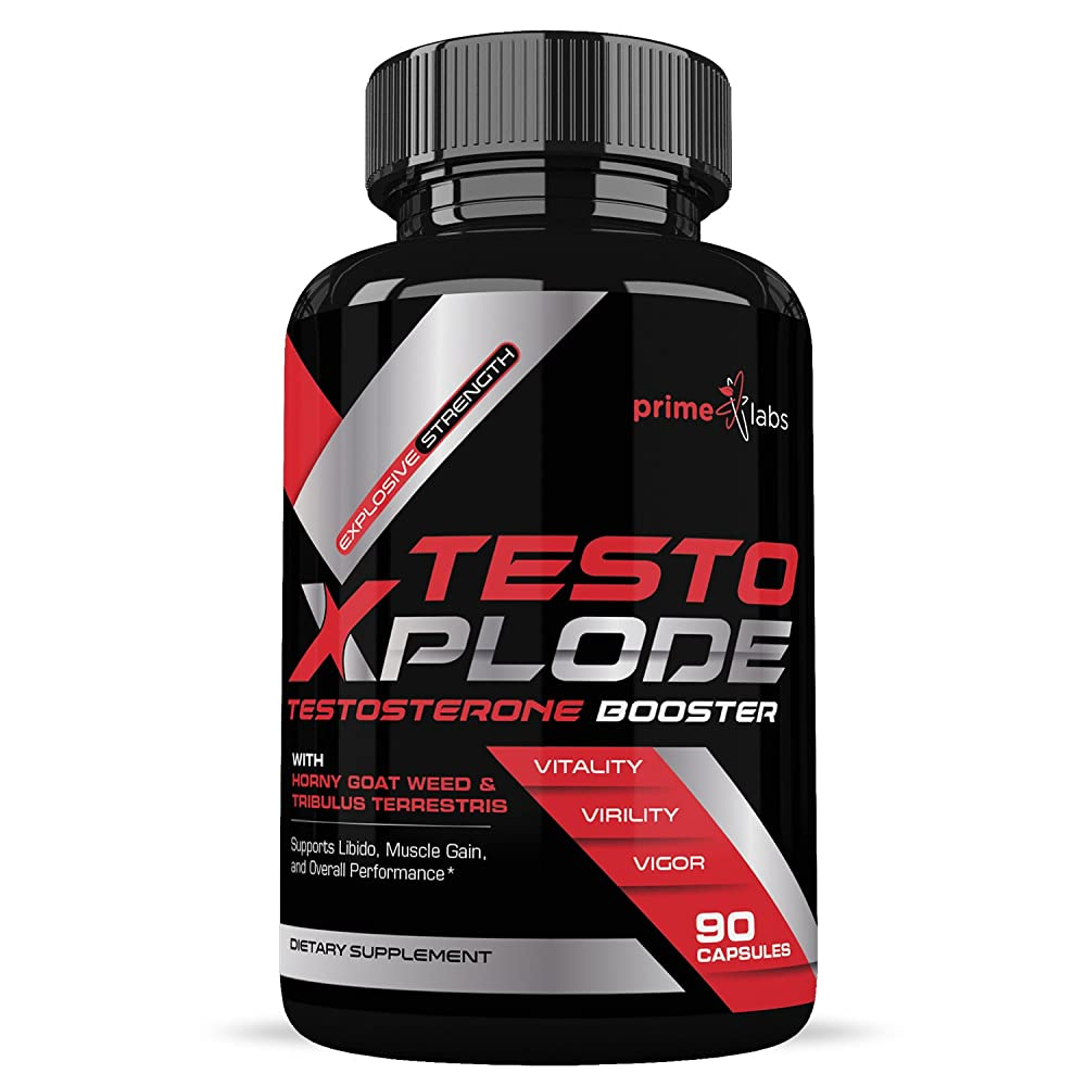 Testo Xplode Testosterone Booster for Men (90 Caplets) – Helps Build Muscle & Burn Fat Boost