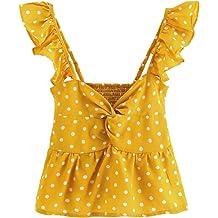 bfa3996607 SheIn Women's Sleeveless Twist Knot Polka Dot Ruffle Hem Crop Tank Top