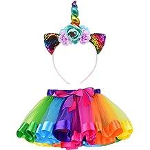 2f156ec2871c LYLKD Little Girls Layered Rainbow Tutu Skirts with Unicorn Horn Headband