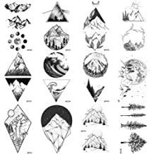 66394404e 12 Pieces/Lot Geometry Triangle Mountain Temporary Tattoo Sticker Cover  Women Body Arm Art Drawing Waterproof Fake Black Sea Weave Tatoos Paper .
